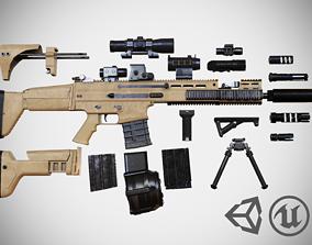 3D asset FN SCAR - H - 25 Attachments - Customizable - 1