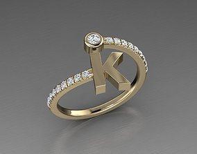 3D print model ring Jewelry Alphabet Diamond Ring K