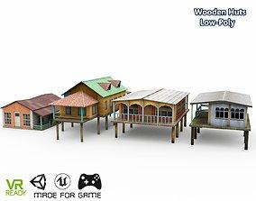 3D model Wooden 4 Houses