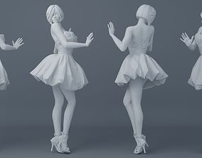 Pretty girl wearing a dress 002 3D printable model