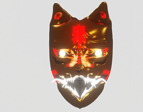 rigged game-ready kitsune character model