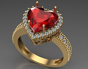 gold 3D print model heart ring