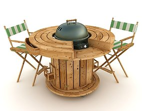 3D model BBQ with round table