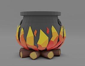 3D asset Lowpoly Cauldron