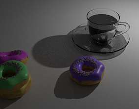 VR / AR ready 3D Donut and Coffee model 3D model