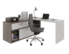 Office desk with computer and decors 3D model
