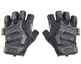 Military gloves half-finger of color black with 3D asset 2