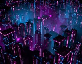 Neon Buildings 3D model low-poly