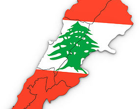 3D Political Map of Lebanon