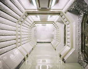 Sci Fi Corridor White Room 3D model realtime