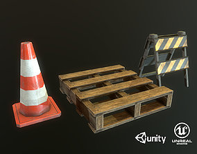 cone Palette barrier PBR prop 3D asset