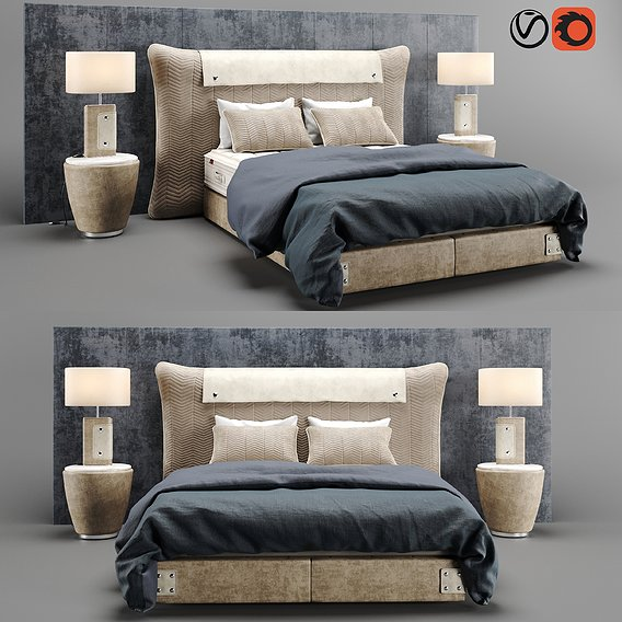 Colunex Chevron Luxury Bed 3D model