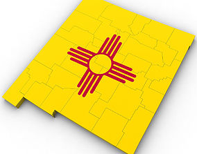 3D model New Mexico Political Map