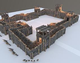 3D model Medieval Wooden Fort