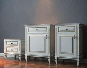 3D model Cara Hardwood Bed table-drawer