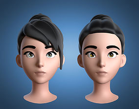 3D Cartoon Girl Head