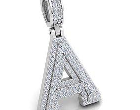 Alphabet Latter A Diamond Pendent 3d Model print