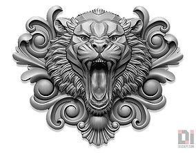 Tiger angry face relief 3D printable model