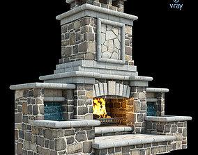 3D asset Outdoor Fireplace 013