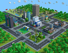realtime Cartoon City Low Poly 3d model