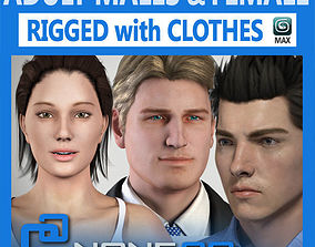 Pack - Adult Males and Female Rigged 3D model