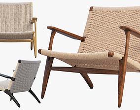 walnut 3D model CH25 Lounge Chair 4 options