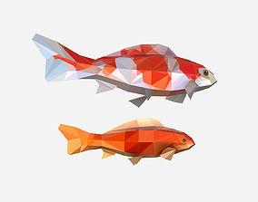 Animated Low Poly Art Flock Carp Koi Fish 3D asset