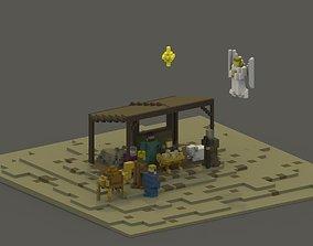 Nativity Scene Voxel 3D asset