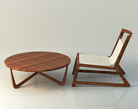 3D Modern Wooden table and chair