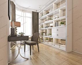 3D modern classic luxury study working room