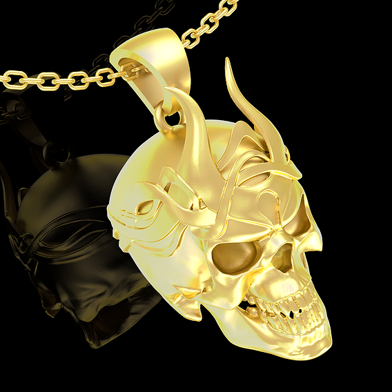 Crowned Skull Pendant jewelry Gold 3D print model