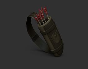 Archer Quiver - Ranger Hunter - Red Arrows Pack 3D asset