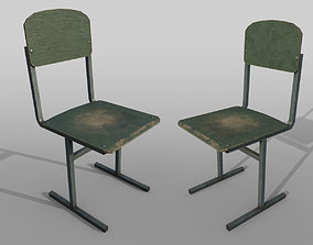 3D asset Old shabby school chair