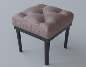 3D model Tufted Ottoman Stool Low poly PBR