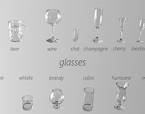 kitchen 3D Set of glasses