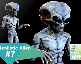 3D model animated Realistic Alien 7