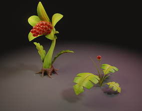 Stylized plants 3D model