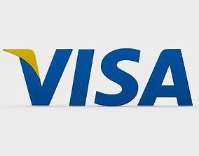 cash 3D model visa logo