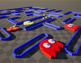 low-poly Original Pixel Pacman Complete Models