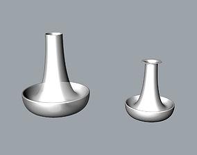 Simple white ceramic vase 3D Model desktop