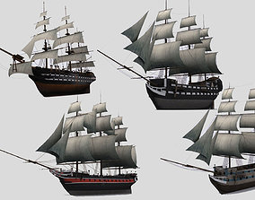 Military sailing ships 3D model