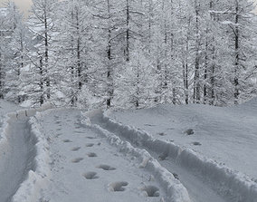 3D cold Ground covered with snow