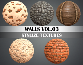 3D asset Stylized Walls Vol 03 - Hand Painted Texture