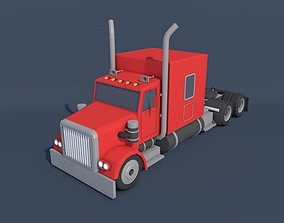 3D asset Low Poly American Heavy Truck