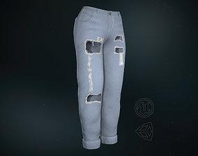 3D asset Blue Ripped Jeans Women
