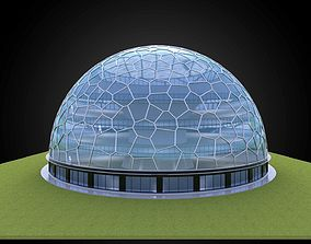 Dome building voronoi pattern and glass structure 3D model