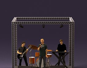 000966 Rock band on the stage 3D model