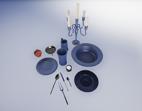 3D asset 17th Century Pewter Tableware