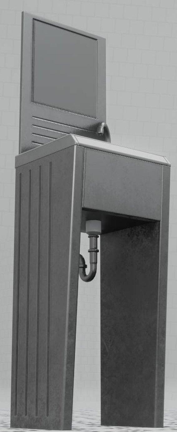 Public Metal Sink - 32 - with Mirror Low-poly  (Blender-2.92 Eevee)