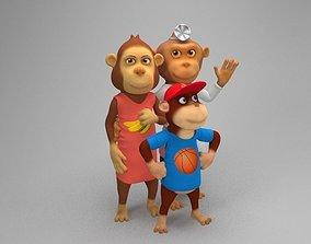 Ape family 3D asset